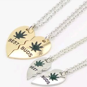 Jewelry - Best Buds Weed Leaf Friendship Necklace Set